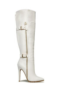 Shoe Dazzle - Knee-High White Buckle