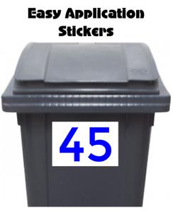 2 Large Custom Wheelie Bin Stickers House Number Waterproof Easy Apply Blue