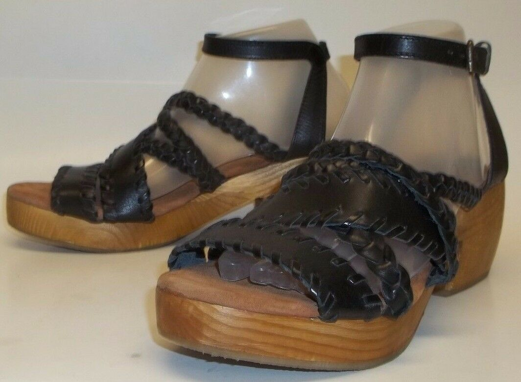 Ecote Wos Sandals 10 Braid Wood Platform Heel Urban Nero Pelle Urban Heel Outfitter 125 99bc78