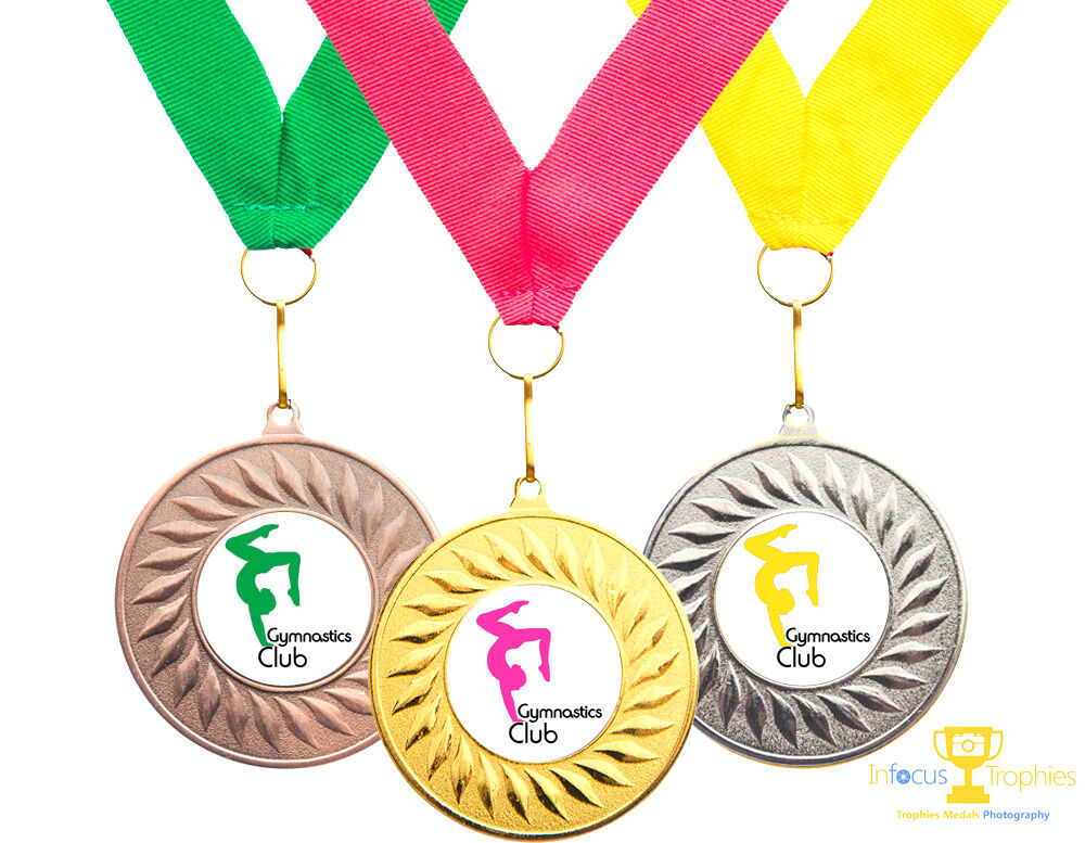 140 x Gymnastics Medals Personalised With Your Logo + Ribbon FREE DELIVERY