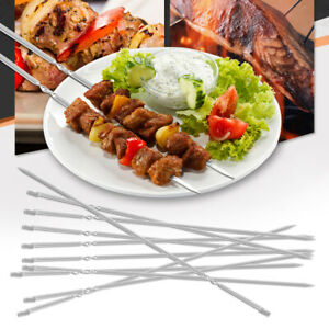 10PCS-BBQ-Barbecue-Stainless-Steel-Grilling-Kabob-Kebab-Flat-Skewers-Needle-38CM
