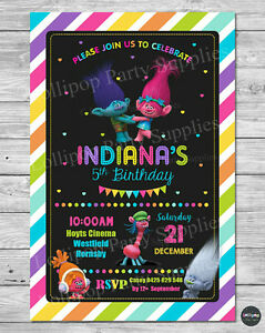 Image Is Loading TROLLS PARTY SUPPLIES INVITATIONS INVITE PERSONALISED BIRTHDAY GIRLS