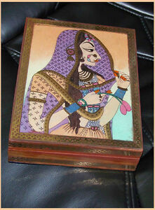 CRUSHED-GEMSTONE-PAINTING-DESIGNER-WOOD-BRASS-JEWELRY-BOX-FROM-INDIA