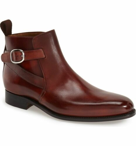 MENS NEW HANDMADE JODHPUR STYLE REAL LEATHER BROWN ANKLE BOOTS FOR MEN