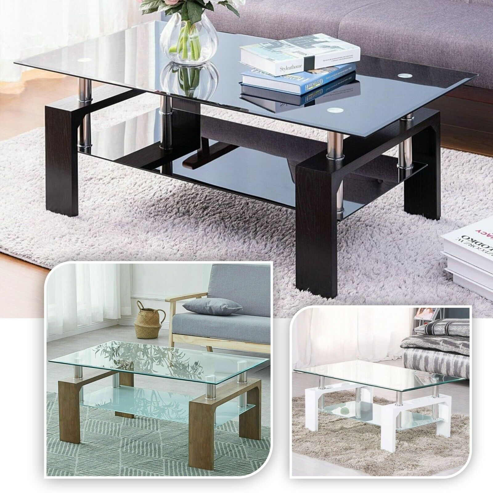 Picture of: Luna Modern 2 Shelf Bent Curved Clear Tempered Glass Coffee Table For Sale Ebay