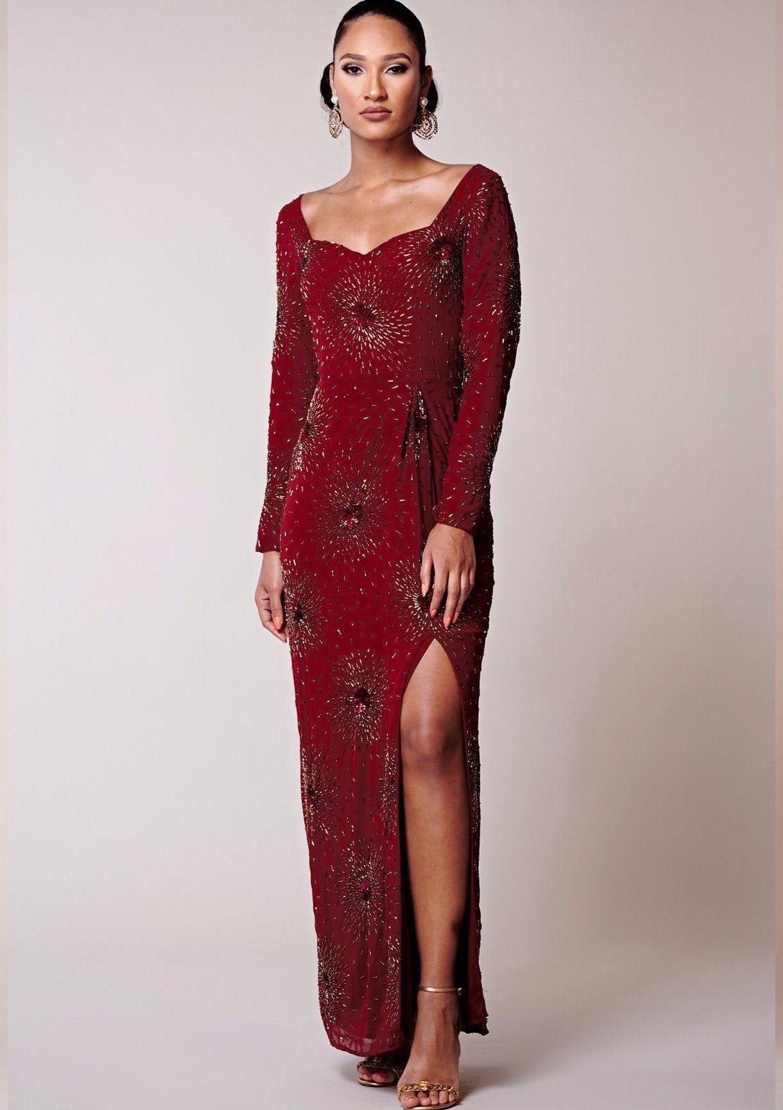 Virgos Lounge Maroon rot Embellished Long Sleeve Maxi Wedding Party Dress 16 44