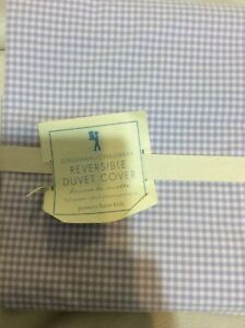 Pottery Barn Kids Gingham Chambray Reversible Twin Duvet Cover NEW Lavender