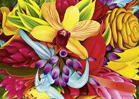 4 Greeting Cards Hawaiian Happy Birthday Floral Explosion