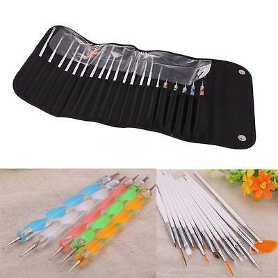 Nail Art 20PCS UV Gel Design Painting Pen Brush Set for Salon Manicure DIY Tool