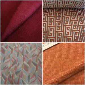 Vtg Abstract Geometric Upholstery Fabric Burnt Rusty Orange Brick