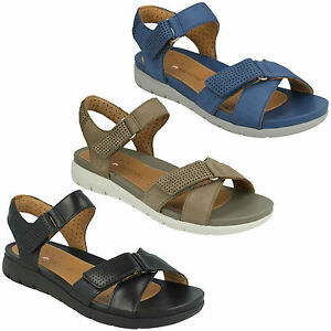 9138d3b025a3 Image is loading LADIES-CLARKS-LEATHER-OPEN-TOE-RIPTAPE-STRAP-UNSTUCTURED-