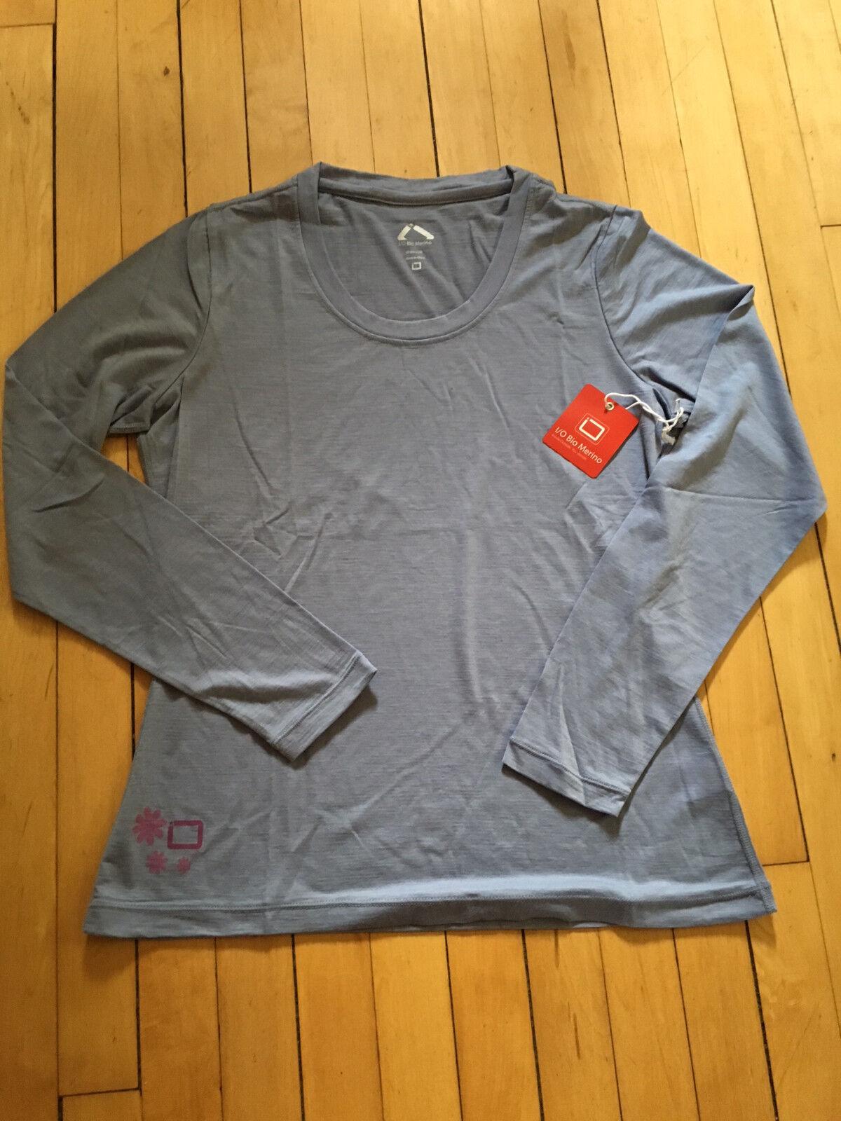 I O Bio Merino  Wool Signature Long Sleeve Shirt, NEW, Women L, bluee  shop makes buying and selling