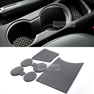Carbon Style Console Cup Holder Insert Tray Pad 6pcs for ...