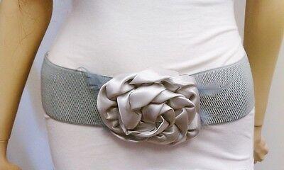 Fashion Stylish Women Gray Wide Elastic Belt Satin Flower & Feathers S M L XL