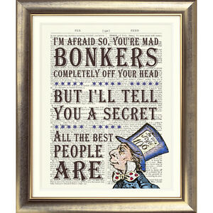 DICTIONARY-PAGE-ART-PRINT-VINTAGE-Bonkers-Quote-Alice-in-Wonderland-Mad-Hatter