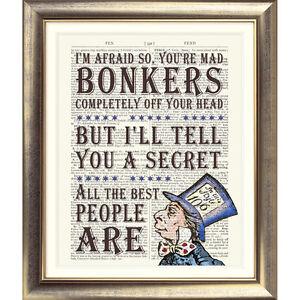 DICTIONARY-PAGE-ART-PRINT-VINTAGE-ANTIQUE-BOOK-Alice-in-Wonderland-Mad-Hatter