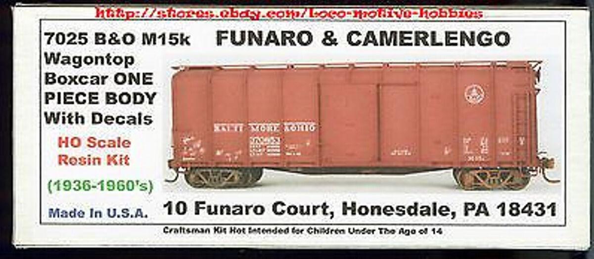LMH Funaro 7025  BALTIMORE & OHIO  B&O M15k Wagon Top BOXCAR Kit  1-PIECE BODY