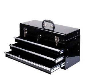 HOMCOM  Cassetta Porta Attrezzi da Officina in Metallo Nero 540 x 290 x 220 mm