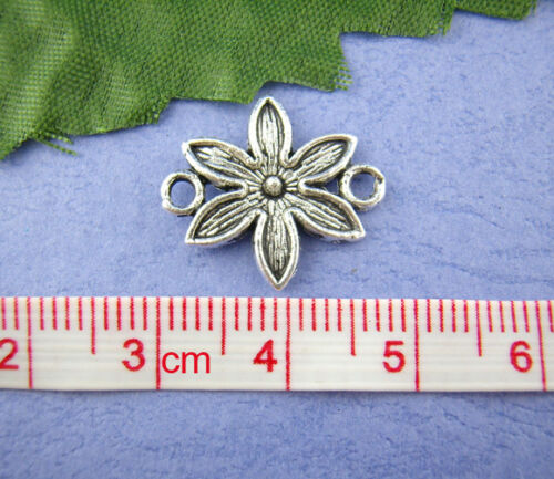 20 ANTIQUE SILVER FLOWER CONNECTORS~16x18mm~Jewellery~Wish Bracelets~Cord 69A