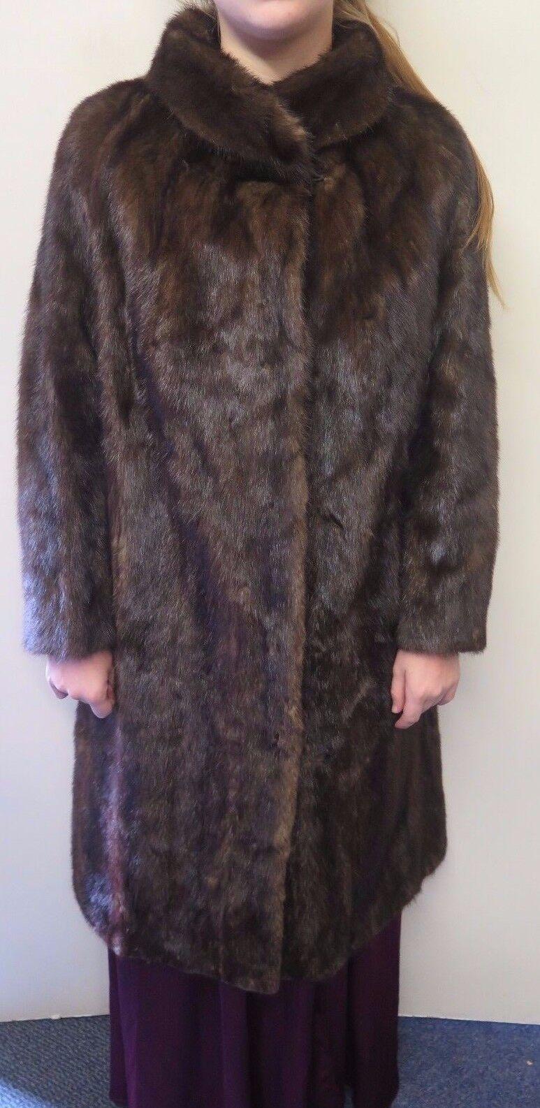 Vintage Europeo Genuino  Marrón Oscuro de Piel de visón largo abrigo L 14 euro 42  marcas de diseñadores baratos