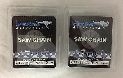 """2 Pack 18/"""" Archer Chainsaw Chain 3//8/"""" pitch FULL CHISEL .058 Gauge 68 DL"""