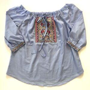 9228e3d3f1f Details about Blu Pepper Women's Off Shoulder Boho Tunic Top Plus Size 1XL  Multi color Blouse