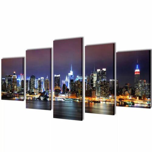 vidaXL 5 pz Set Stampa Tela da Muro Soggiorno Panorama New York Colori 200x100cm