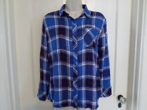 8132ea0a17 Beach Lunch Lounge Womens Plaid Flannel Shirt Blue Aubergine Charley ...
