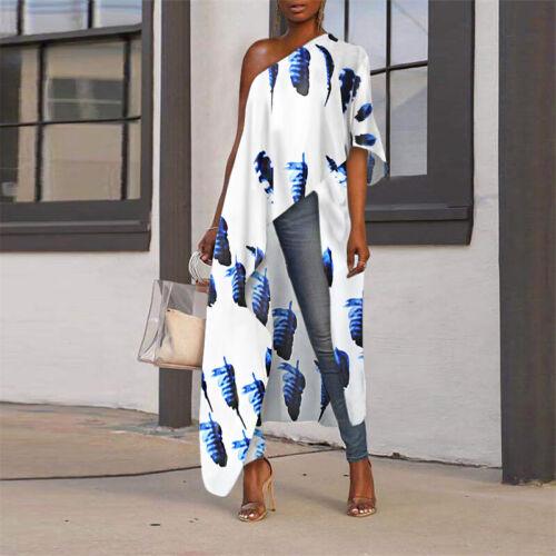 US Womens One Shoulder Printed Beach Long Tops Irregular Hem Shirt Tunic Blouse