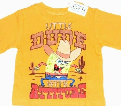 Boys 6 9M Spongebob T Shirt Little Dude With Attitude Sun Cowboy Cactus Cartoon