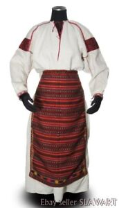 27e13e4dc Image is loading ANTIQUE-Ukrainian-folk-costume-homespun-linen-dress -peasant-
