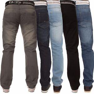 Enzo-Mens-Jeans-Belted-Straight-Leg-Regular-Fit-Denim-Big-Tall-All-Waist-Sizes