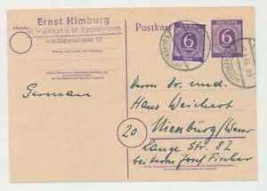 All. Besetzung P 951 + Nr. 916 Fernkarte FRANKFURT 1.4.46 n. NIENBURG (54642)