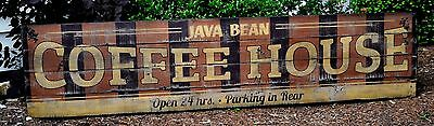 Personalized Coffee House Retro Sign - Rustic Hand Made Vintage Wooden Sign