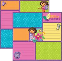 5pc Scrapbook Paper Dora The Explorer Nickelodeon Studios Boots Hibiscus Map