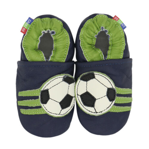 carozoo soccer dark blue 4-5y soft sole leather kids shoes