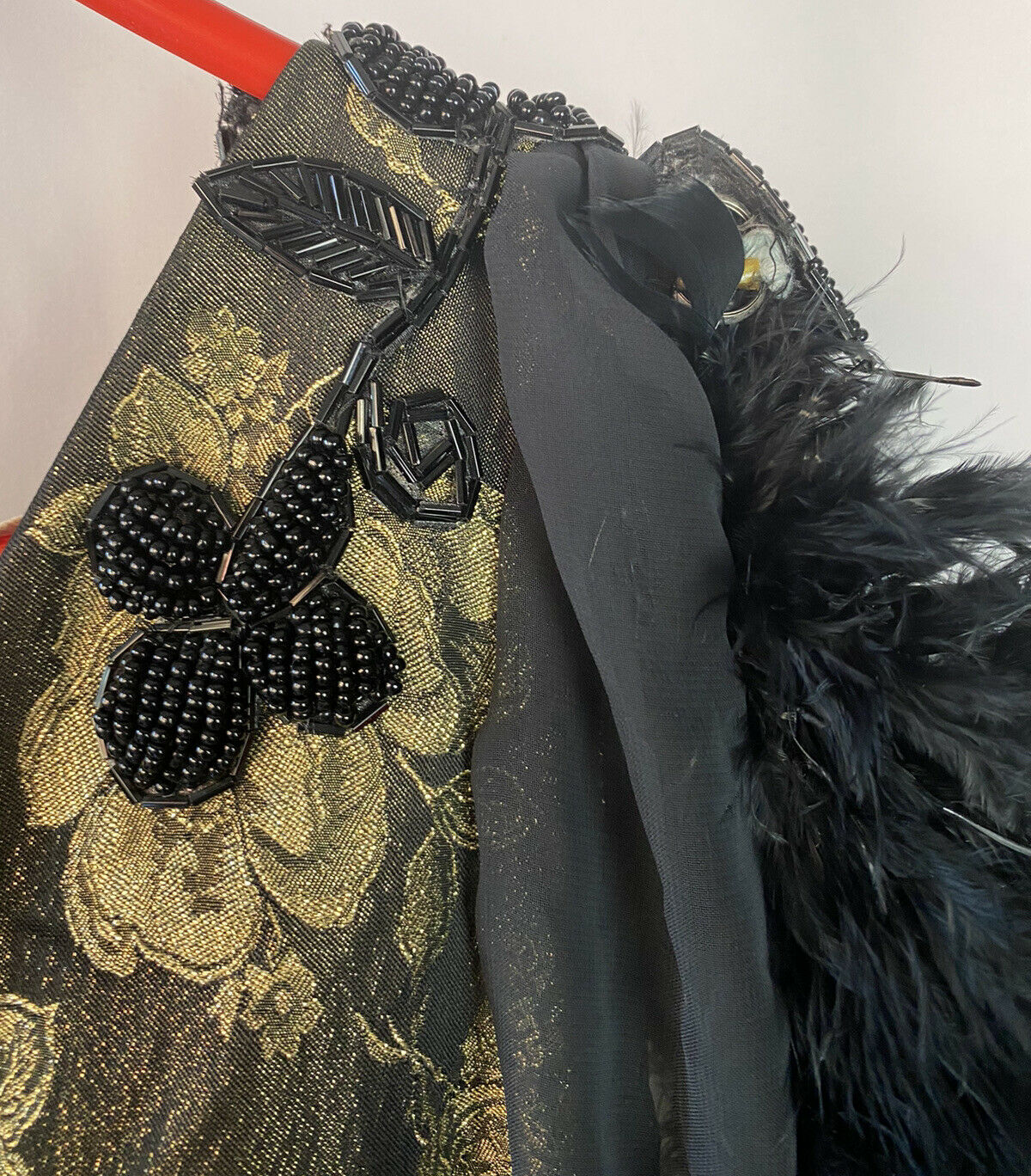 vintage black beaded feathered ball gown - image 5