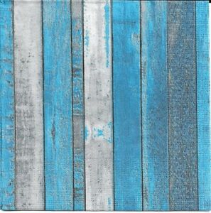 2-Serviettes-en-papier-Decor-Bois-Decoupage-Paper-Napkins-Whitewash-blue