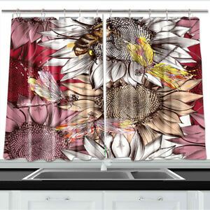 Details about Sunflower, Bees and Dragonfly Kitchen Curtains 2 Panel Set  Decor Window Drapes