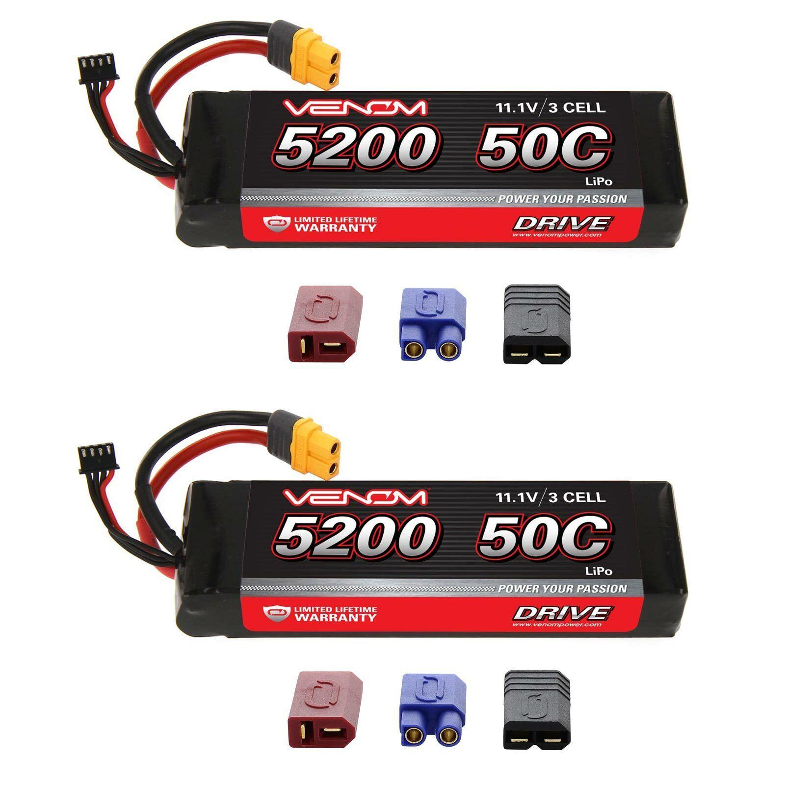 Venom 50C 3S 5200mAh 11.1V batería LiPo con paquetes de Enchufe x2 Uni