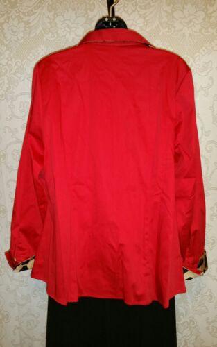 6d18107426f ... Lane Bryant Red W Cheetah Print Trim Long Sleeve Button Down Shirt Sz  16