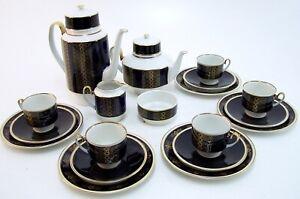 Service-Weimar-Porzellan-Teeservice-Kaffeeservice-19-teilig-5-Personen-blau-gold
