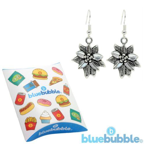 Bluebubble MERRY CHRISTMAS Silver Poinsettia Dangle Earrings Novelty Festive Fun