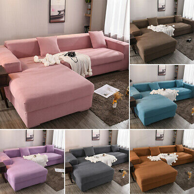 1-4 Seat Stretch Spandex L-Shape Sofa Couch Cover Elastic Slipcover Protector