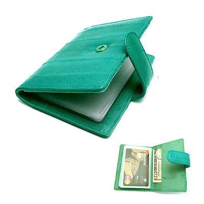 New Genuine Eel skin Leather Credit Card Case Holder Leather Wallet