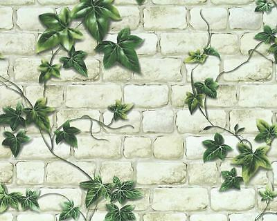 Trailing Green Ivy Leaves Vines Over Beige Brick Textured Vinyl Wallpaper