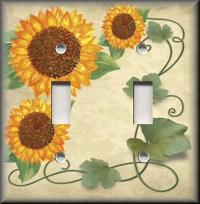 Light plate switch cover decorative sunflowers flowers plants birdhouses