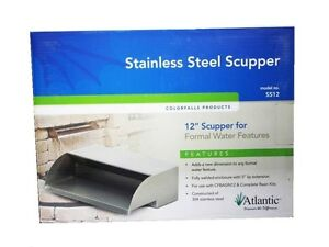 """Atlantic SS12 Stainless Steel Scupper 12"""" Wide Waterfall Spillway-formal-box"""