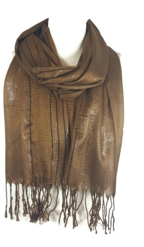 Ladies Womens Glitter Stripes* Net Scarf Shawl Stole Cover Up Mocha PRTY