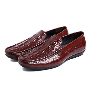 New-Mens-Real-Leather-Boat-Deck-Shoes-Driving-Shoes-Slip-On-Crocodile-Embossed